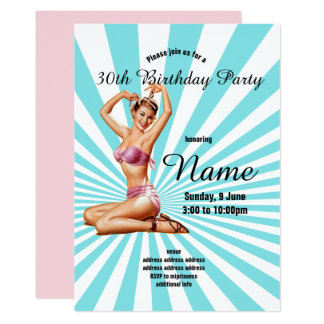 invitation,Birthday Party, vintage pinup girl Card