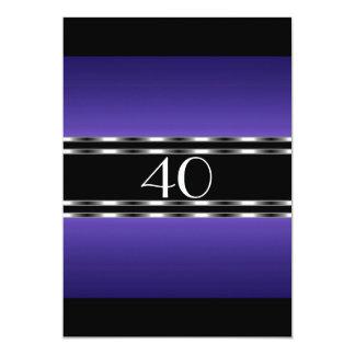 Invitation Birthday Purple Glam with Black Large Personalized Invitation