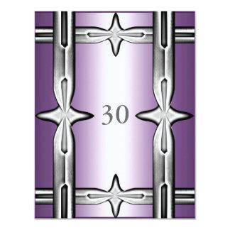 Invitation Birthday Purple & Silver Trim