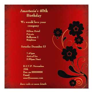 Invitation Birthday Red Fray with Black Floral