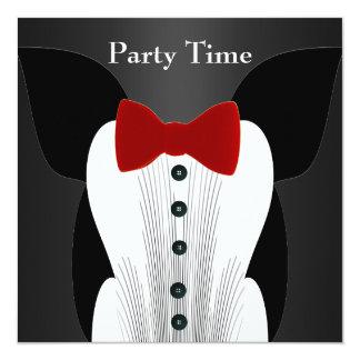Invitation Birthday Red Tie Suit