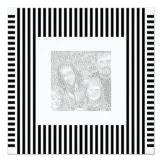 Invitation Birthday Stripe Black White Photo