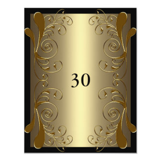 Invitation Birthday Very Black & Gold Floral Glam