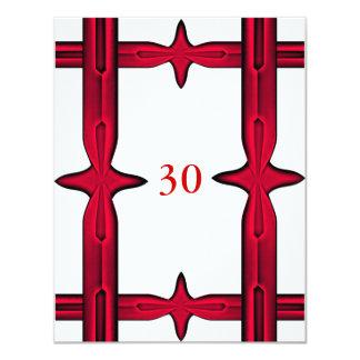 Invitation Birthday White & Red Trim