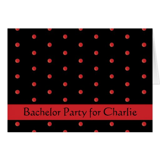 Invitation: Black and Red Dots Greeting Card
