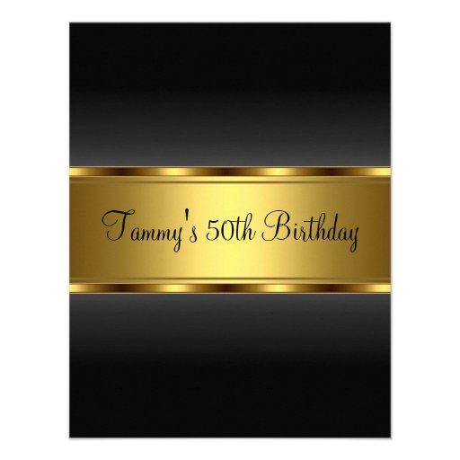 Invitation Black Gold  50th Birthday Party Personalized Invitation