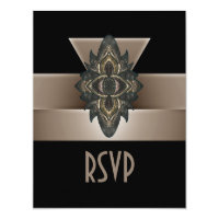 Invitation Black Gold Biege Art Deco RSVP