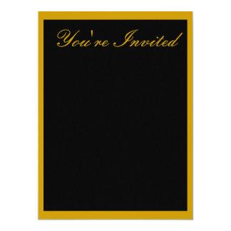 "Invitation - Black with Yellow-Orange Trim 6.5"" X 8.75"" Invitation Card"