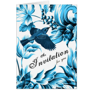 Invitation - Blue Bird and Flowers - Tri Color Greeting Cards