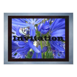 "Invitation - Blue Flowers 6.5"" X 8.75"" Invitation Card"