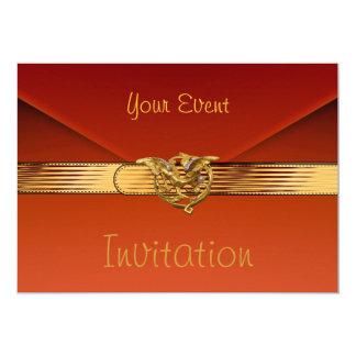 "Invitation Burnt Orange Velvet Jewel Gold Clutch 5"" X 7"" Invitation Card"
