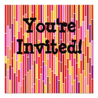 Invitation Card on Hot Abstract Stripes 13 Cm X 13 Cm Square Invitation Card