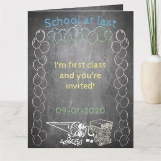 Invitation card to enrollment in chalkboard Style