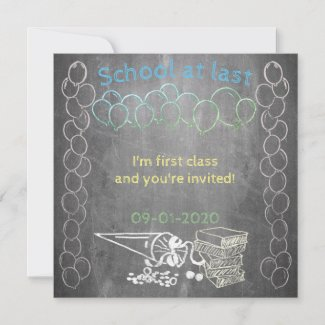 Invitation card to school enrollment on chalkboard
