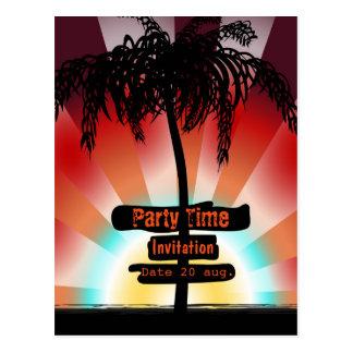 Invitation - cards Summer Beach - palm tree sea R