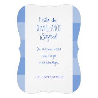 Invitación - Fiesta Sorpresa de Cumpleaños - Azul Invitación Personalizada