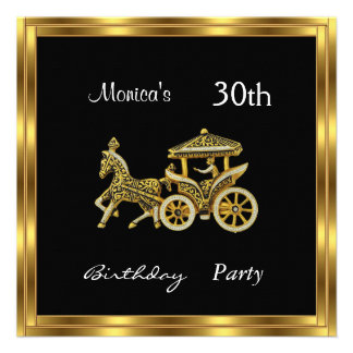 Invitation Chariot  30th Birthday Party  silver Personalized Invites
