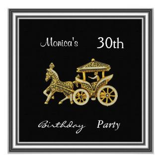 Invitation Chariot  30th Birthday Party  silver Personalized Invite