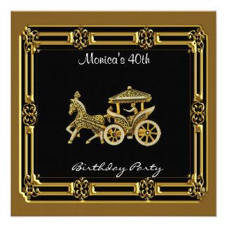 Invitation Chariot  Birthday Party  Gold