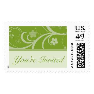 Invitation Chic Olive Green Wedding Postage