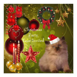 Invitation Christmas Party Xmas Cat Hat