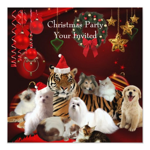 "Invitation Christmas Party Xmas Tiger Cats Dogs 5.25"" Square Invitation Card"