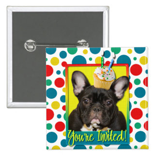 Invitation Cupcake 2 Year Old - French Bulldog Pinback Buttons