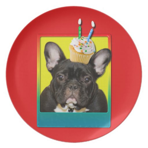 Invitation Cupcake 2 Year Old - French Bulldog Dinner Plates