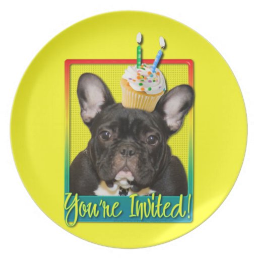 Invitation Cupcake 2 Year Old - French Bulldog Party Plates