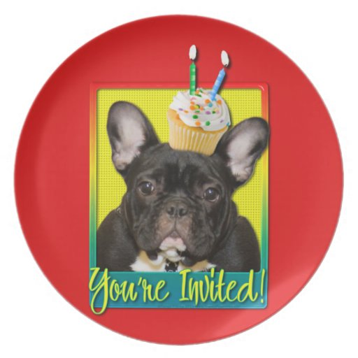 Invitation Cupcake 2 Year Old - French Bulldog Party Plate