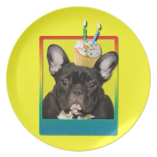 Invitation Cupcake 2 Year Old - French Bulldog Plate