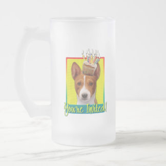 Invitation Cupcake - Basenji Frosted Glass Beer Mug