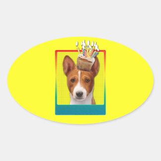 Invitation Cupcake - Basenji Oval Sticker