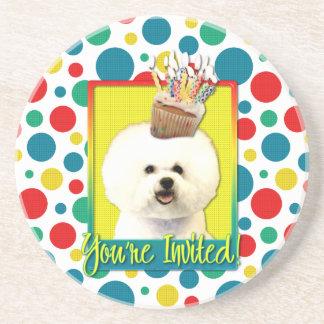 Invitation Cupcake - Bichon Frise Drink Coasters