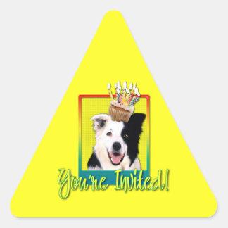 Invitation Cupcake - Border Collie Triangle Sticker