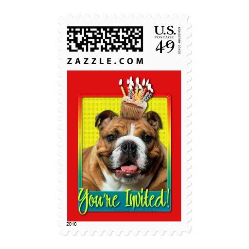 Invitation Cupcake - Bulldog - Dark Postage Stamps