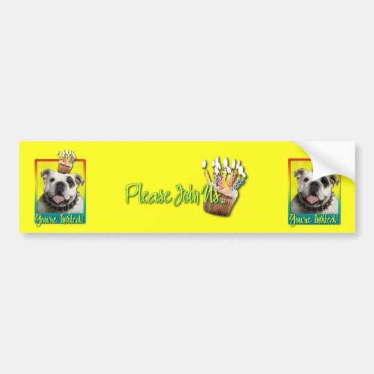 Invitation Cupcake - Bulldog - Light Bumper Sticker