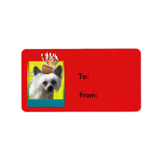 Invitation Cupcake - Chinese Crested - Kahlo Label