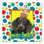 """Invitation Cupcake - Dachshund - Winston 5.25"""" Square Invitation Card"""