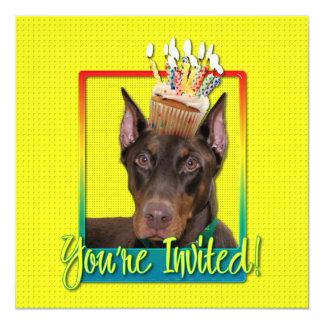 "Invitation Cupcake - Doberman - Red - Rocky 5.25"" Square Invitation Card"