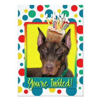 "Invitation Cupcake - Doberman - Red - Rocky 5"" X 7"" Invitation Card"