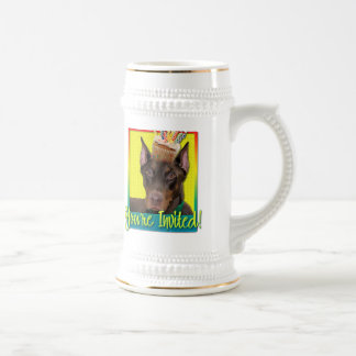 Invitation Cupcake - Doberman - Red - Rocky Beer Stein