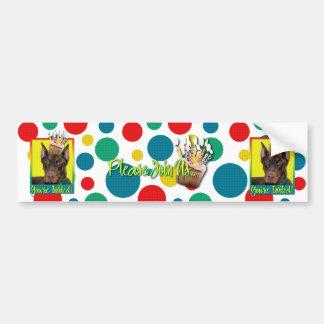 Invitation Cupcake - Doberman - Red - Rocky Car Bumper Sticker