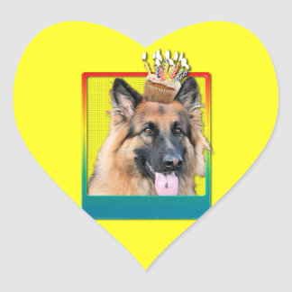 Invitation Cupcake - German Shepherd - Chance Heart Sticker