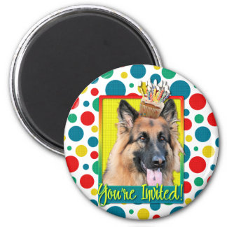 Invitation Cupcake - German Shepherd - Chance Fridge Magnets