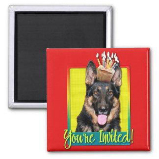 Invitation Cupcake - German Shepherd - Kuno Refrigerator Magnet