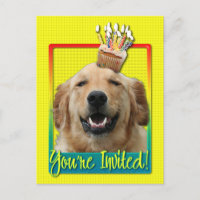 Invitation Cupcake - Golden Retriever - Mickey