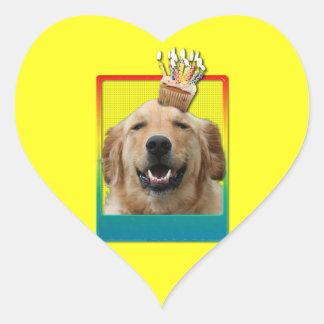 Invitation Cupcake - Golden Retriever - Mickey Heart Sticker
