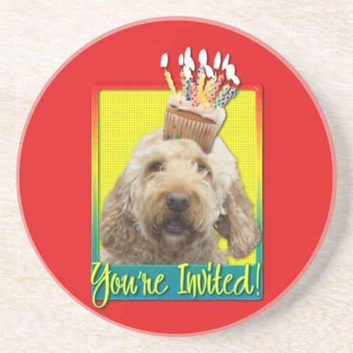 Invitation Cupcake - GoldenDoodle Coasters