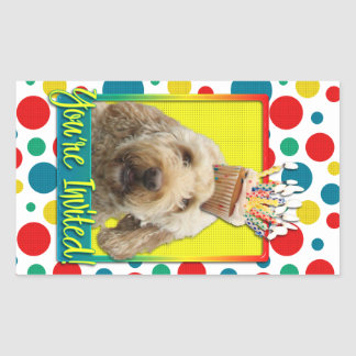 Invitation Cupcake - GoldenDoodle Rectangular Sticker